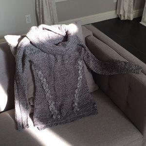 Derek Heart gray and white cowl neck sweater